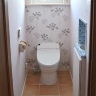 北欧スタイルの壁紙のトイレ