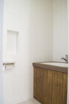 トイレ 造作洗面台 木製棚扉
