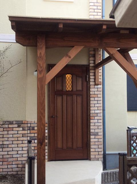 木製ひさし ナチュラル玄関