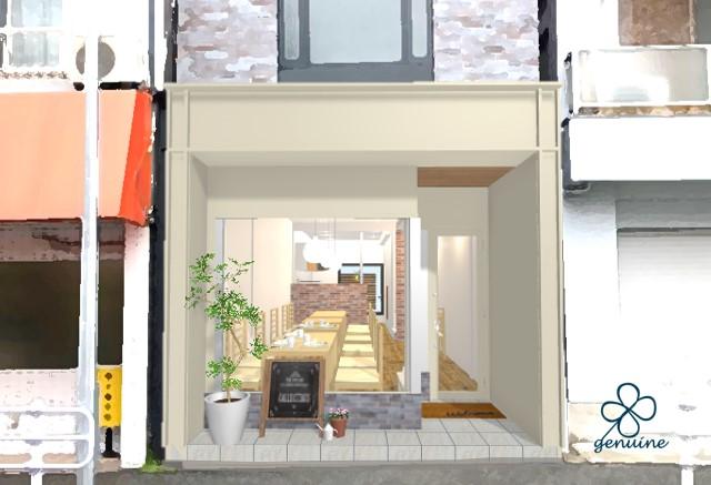 カフェ改装外観パースイメージ